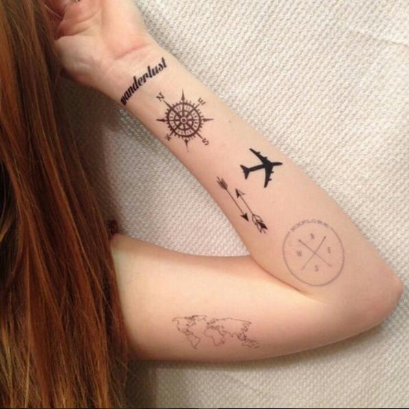 Tatuajes Viajeros Brazo Avion Compas Brujula Travel Report