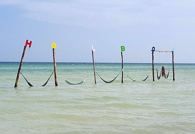 Holbox letras en la playa