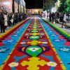 Tapete de flores en la huamantlada, huamantla tlaxcala