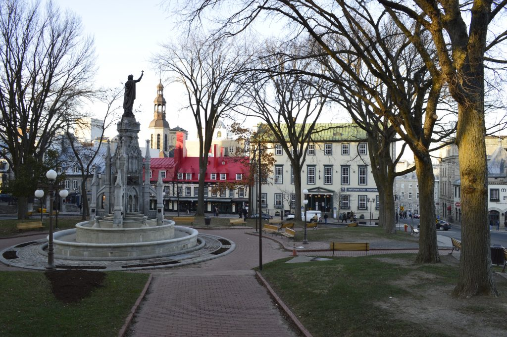 Plaza de armas en Quebec City