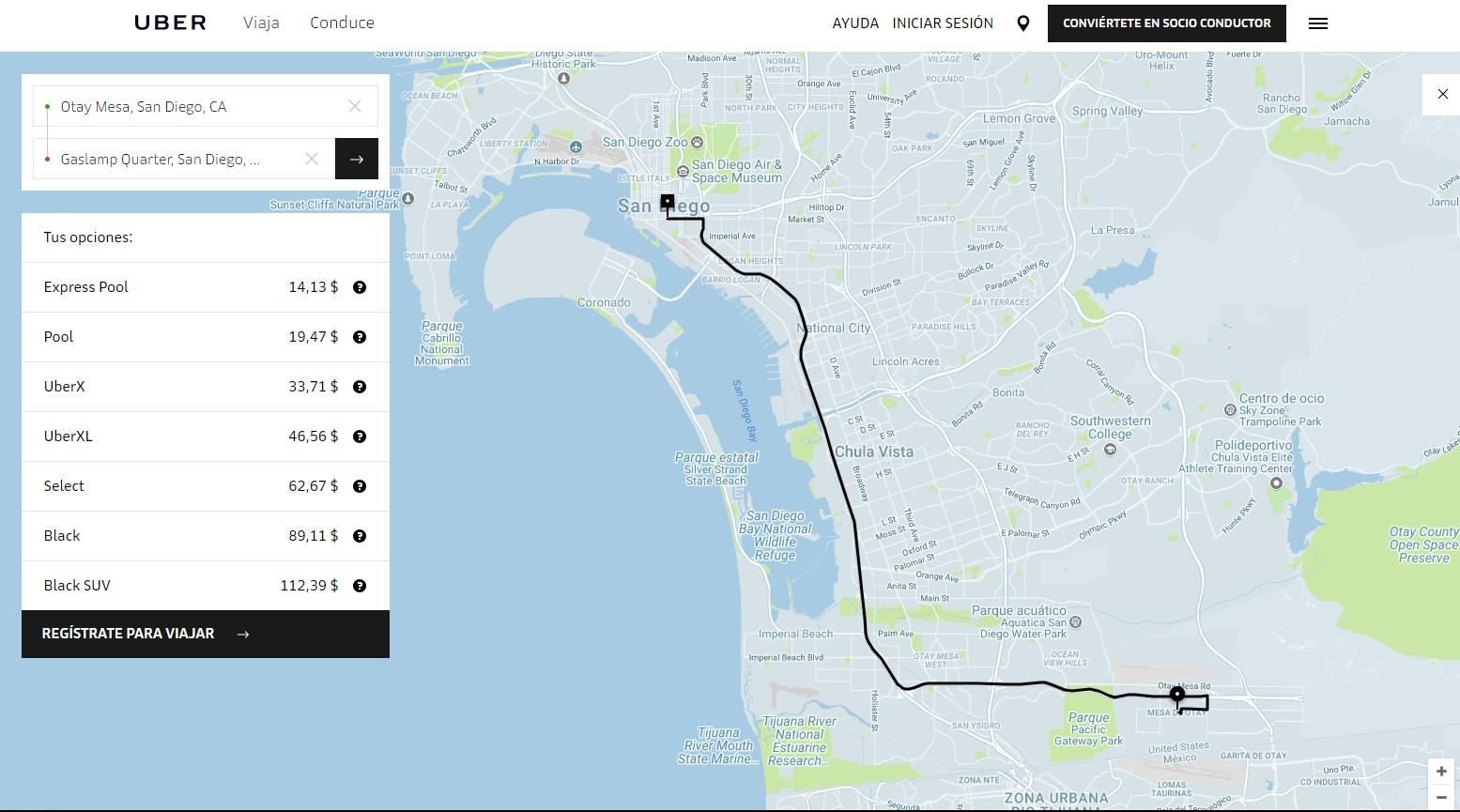 Cómo llegar a San Diego, California, desde Tijuana_uber