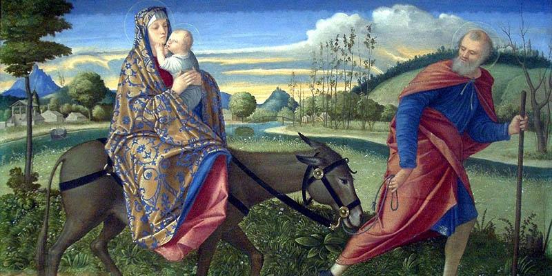 La escena que se representa en la rosca de Reyes. La huida de María y José con Jesús.