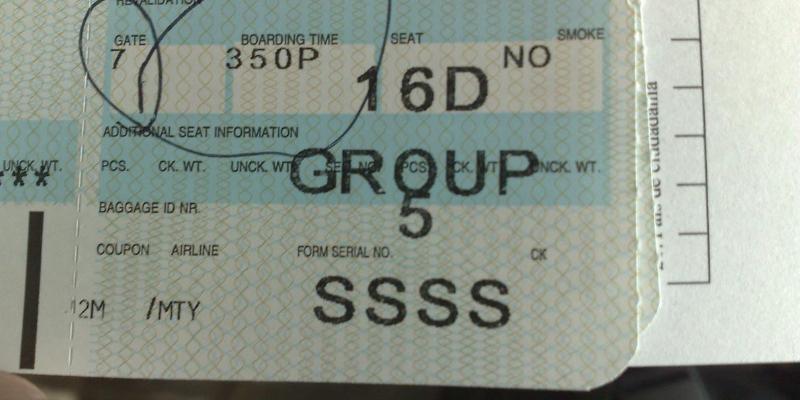 ¿Qué significa el código SSSS en el pase de abordar?